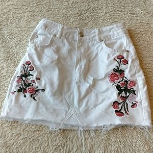 Topshop Moto Flower Embroidered Skirt